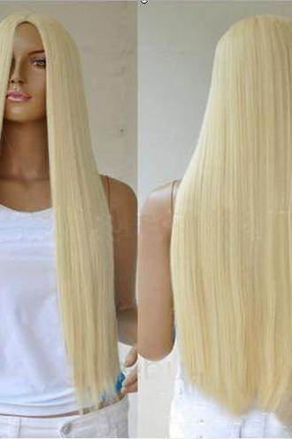 28'' Long Nice Blonde Straight Anime Cosplay Party Long Hair Wig Wigs