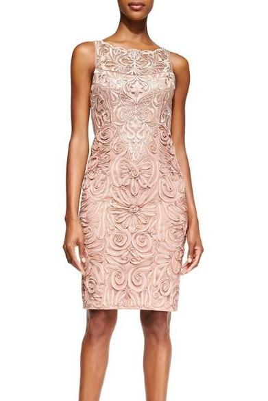 American fashion Embroidered Gauze Flowers Floral Sleeveless Champagne Dress