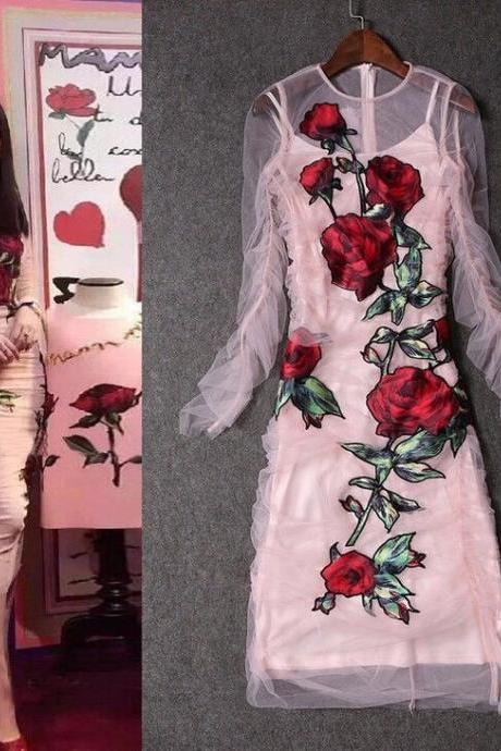 Hot Sale New Pink Mesh Rose Embroidery Runway Sexy Women Mid-long Party Dress