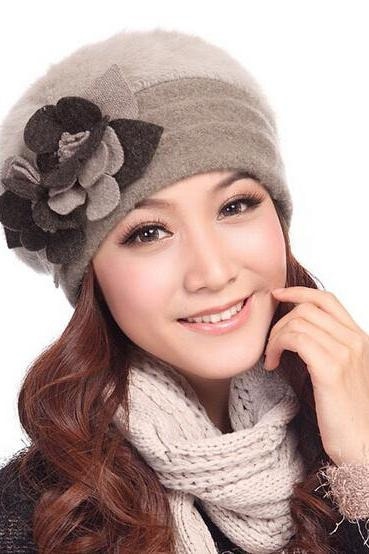 Women Floral Winter Wool Rabbit Fur Ski Warm Hat Beanie Cap Beret Cloche Bucket