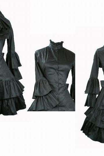 Ladies Large Size Black Color Victorian Lolita Gothic kimolo sleeves long dress