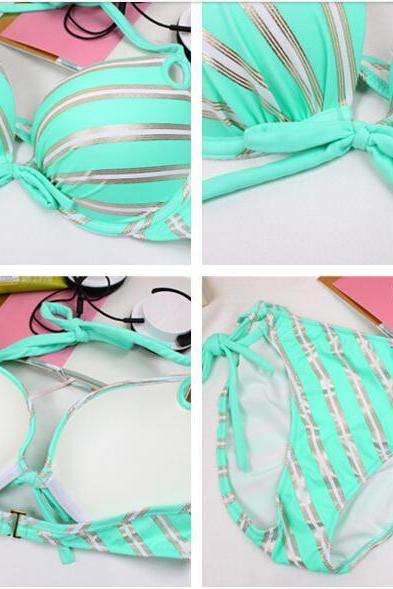 New Nice Attractive Green Stripes Sexy Luxury Breast Pad Women Bikini swimsuit