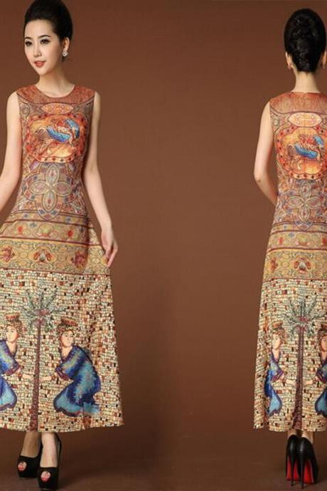Women Good New Luxurious Real Silk Printed Retro Sundress Formal Maxi Long Dress