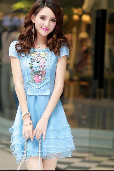 Summer Korean Fashion Colorful Floral Sweet Elegant Ladies Beading Zipper Dress