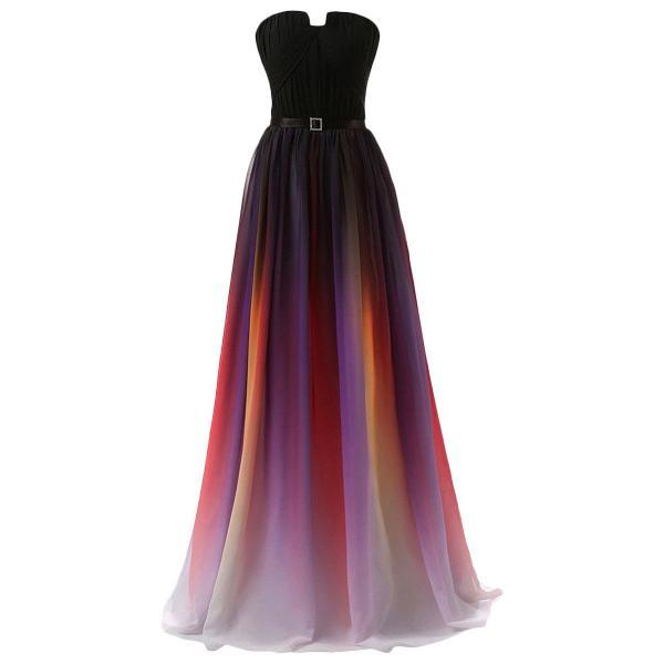 Beauty Strapless Pleated Gradient Color Colorful Ombre Chiffon Prom Gown Dress