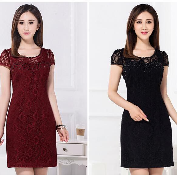 European women large size Floral Short Sleeved Lace Dress Bodycon Dresses