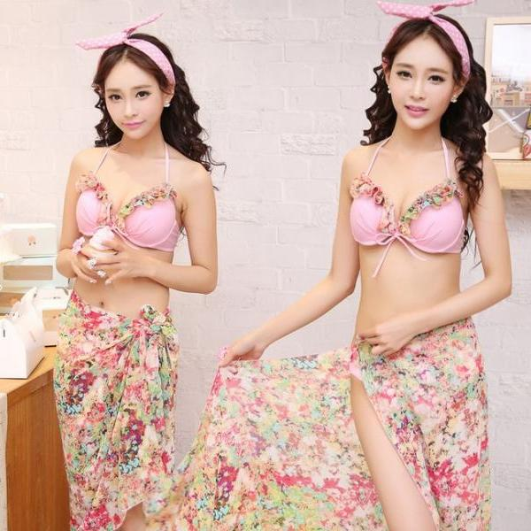 Attractive three piece bikini Suit swimsuit floral cover edge top bikini ladies with beach wrap skirt