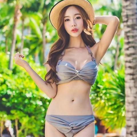 Korean Style Women Elegant Three piece Simple Bow swimwear swimsuit