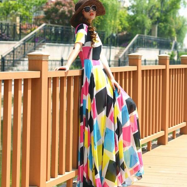 Bohemian Summer Slim Chiffon Color Plaid Square Pattern Resort Beach Skirt