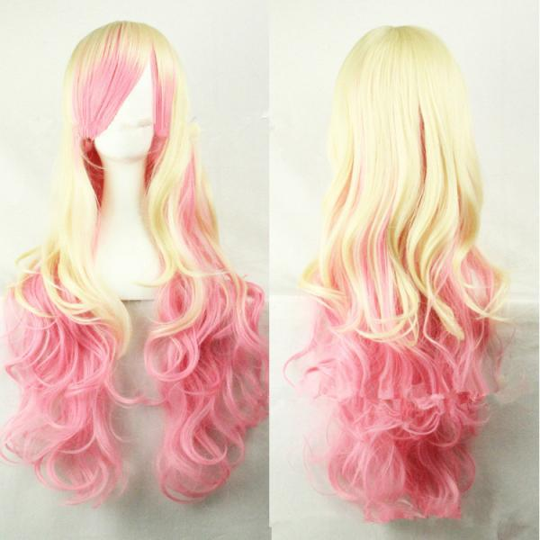 Hot Gold Pink Gradual Color Change Cosplay Cos Cartoon Wig Wigs