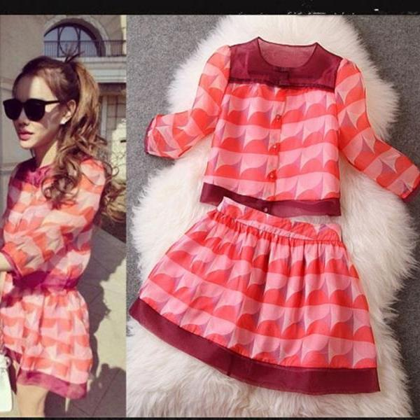 New Women Organza Sleeves Loose Blouse Puff Skirt Piece Fitted Dress