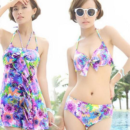 Colorful Floral Three genuine Bikini Gather Spa resort Swimsuit Swimwear