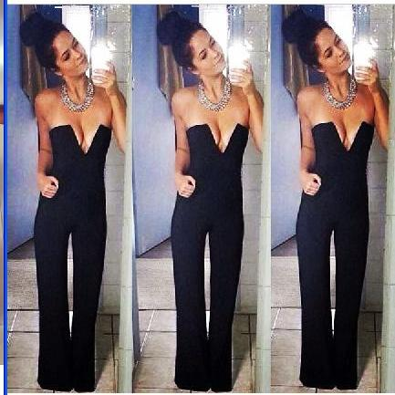 Women Celeb Black Plunge Flared Jumpsuit Party Dress Boutique Maxi Playsuit