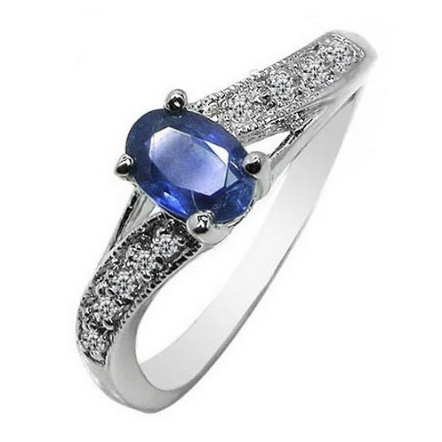 S925 silver jewelry fashion simple natural sapphire ring female personality gift
