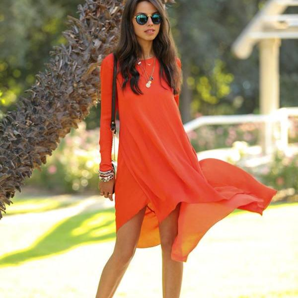 Summer Women Casual Loose Chiffon Long Sleeve Dresses Fashion Party Dress