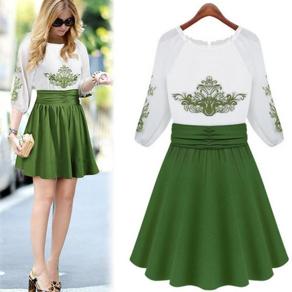 Summer Women European Hedging Round Neck Embroidered Big Chiffon Green Dress