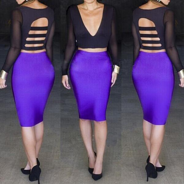 New Sexy Women Fashion Deep V Neck Backless Long Sleeve Bandage Party Dress