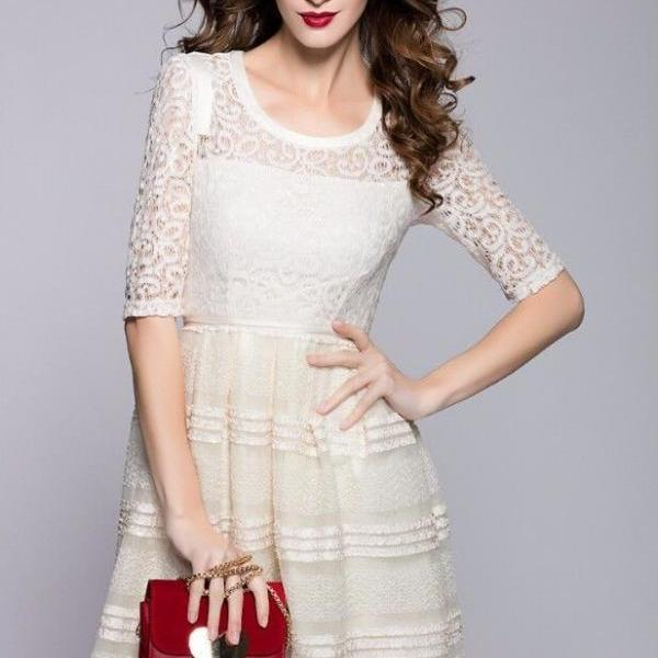 New White Black Lace Embroidery 3/4 Sleeve Runway Bodycon Vintage Gown Dress