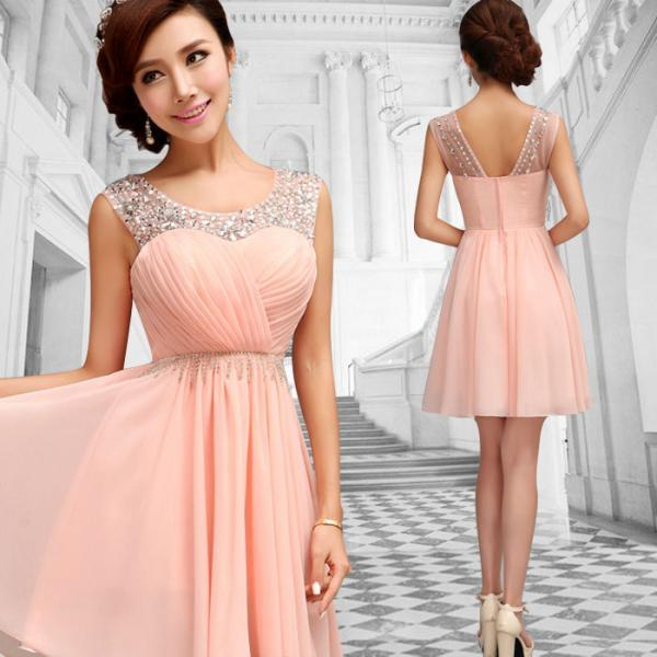 Pink Formal Evening Prom Party Bridesmaid Dresses Ball Gown Short Skirt Dress