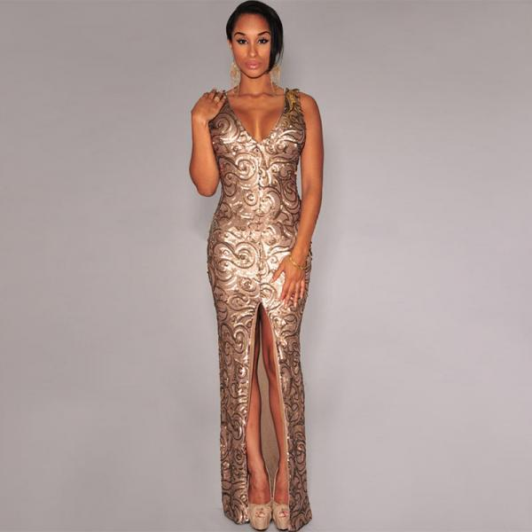New Gold Sequined Front Slit Padded Maxi Gown women Ladies wedding evening dress