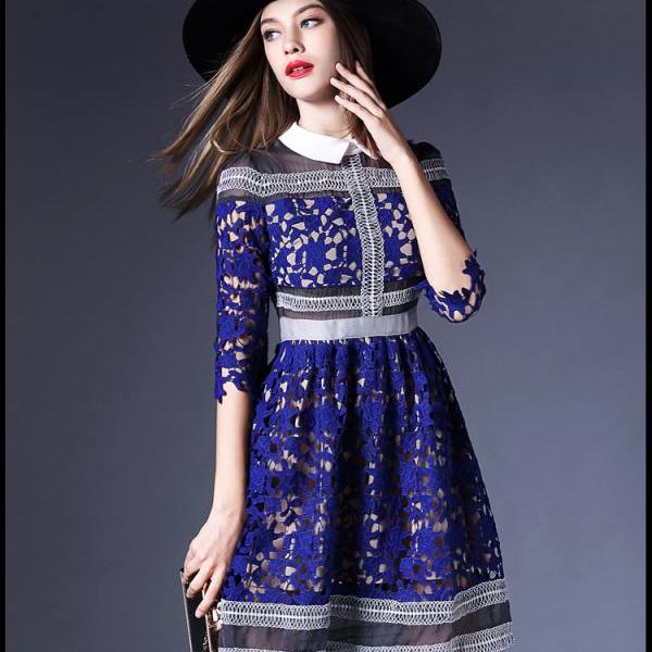 European Retro Women Fashion Lace Catwalk Star London Self Portrait Hollow Dress